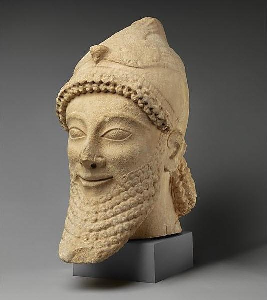 Εικόνα 5 -Αρχαϊκή περίοδος, 6ος αι. π.Χ. Πέτρινο άγαλμα της συλλογής Σεσνόλα στο Μητρ. Μουσείο Τέχνης, Ν.Υ.