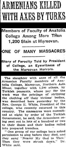 Άρθρο του New York Times, περιγράφοντας την εξολόθρευση των Αρμενίων με τσεκούρια. Γράφει ο G.E.White, (Βικιπαιδεία).